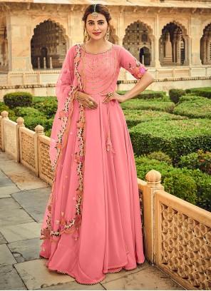 Pink Anarkali Salwar Suit For Festival