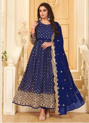Anarkali Suit Mirror Georgette in Blue