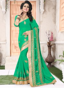 Angelic Faux Georgette Green Saree