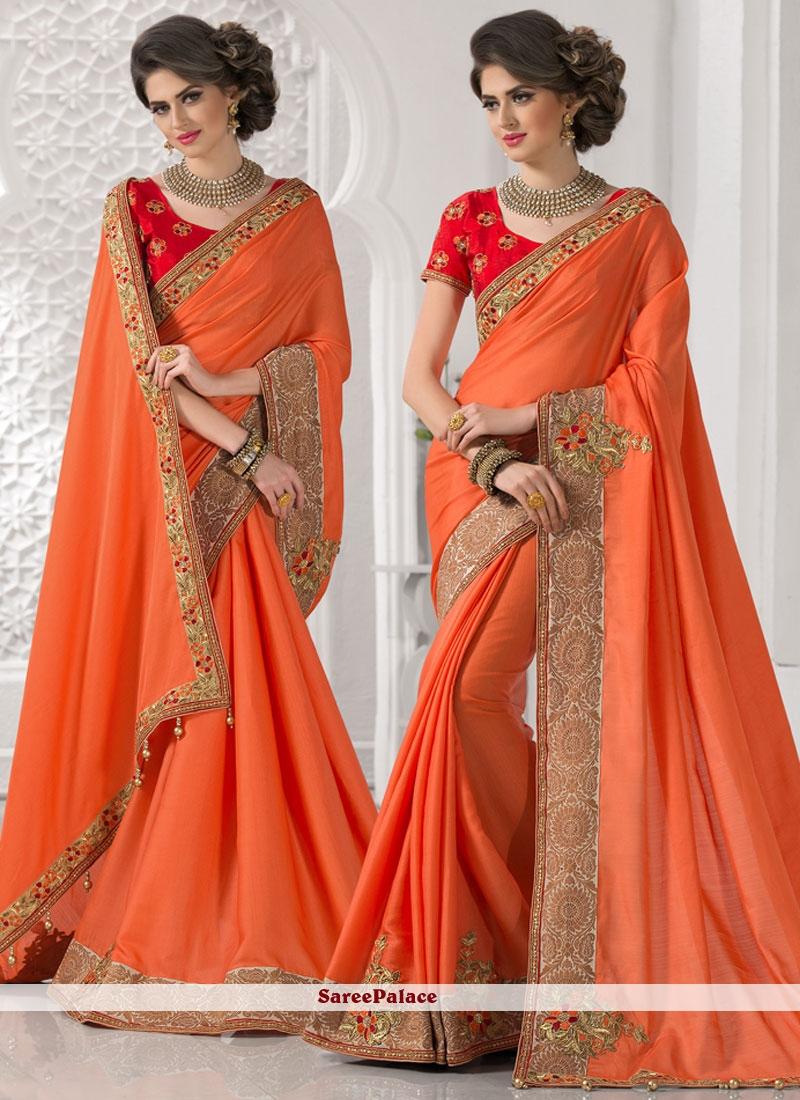 Angelic Orange Classic Designer Saree