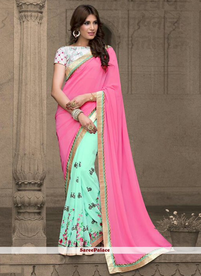 Angelic Pink and Sea Green Lace Work Classic Saree