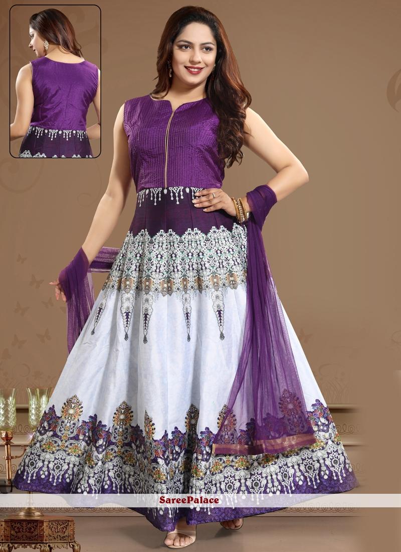 Ankle Length Salwar Kameez Printed Art Silk in Purple