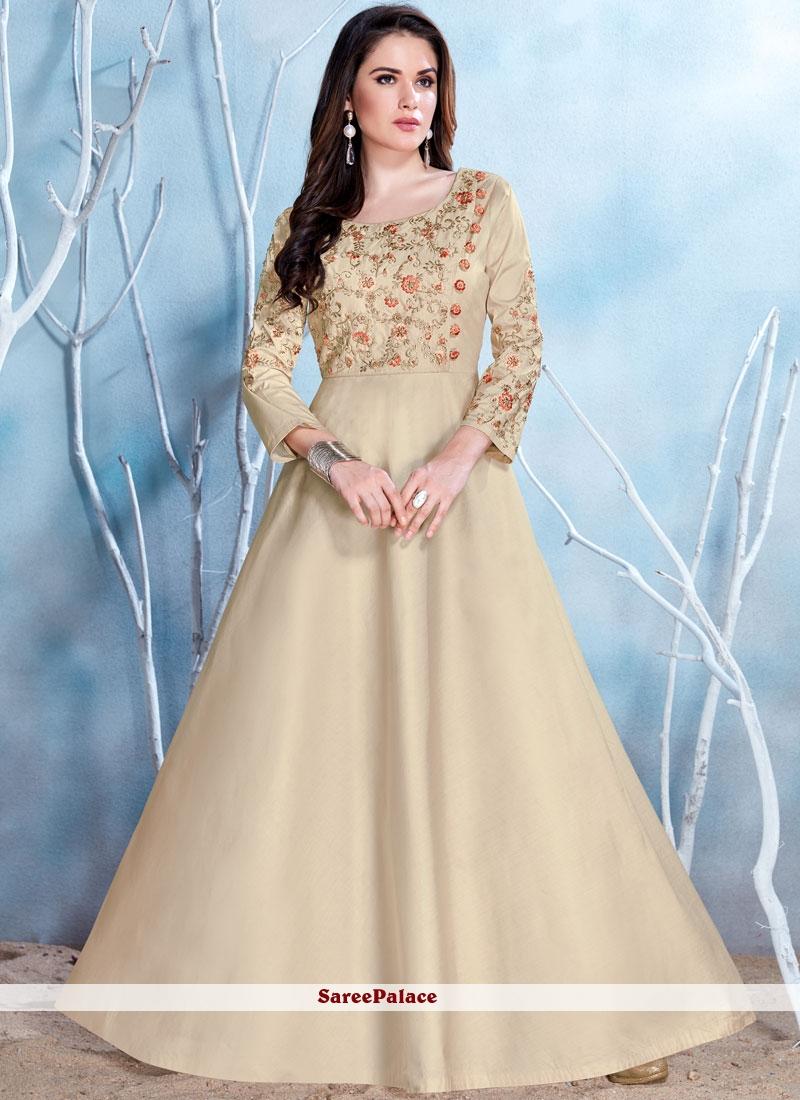 7bc97ba6d65 Buy Appealing Beige Fancy Fabric Resham Work Readymade Gown Online