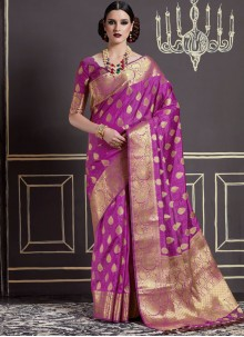 Appealing Purple Weaving Work Art Silk Traditional  Saree