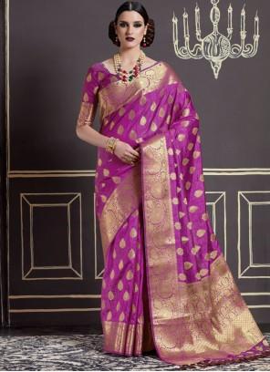 Appealing Purple Weaving Work Art Silk Traditional  Saree