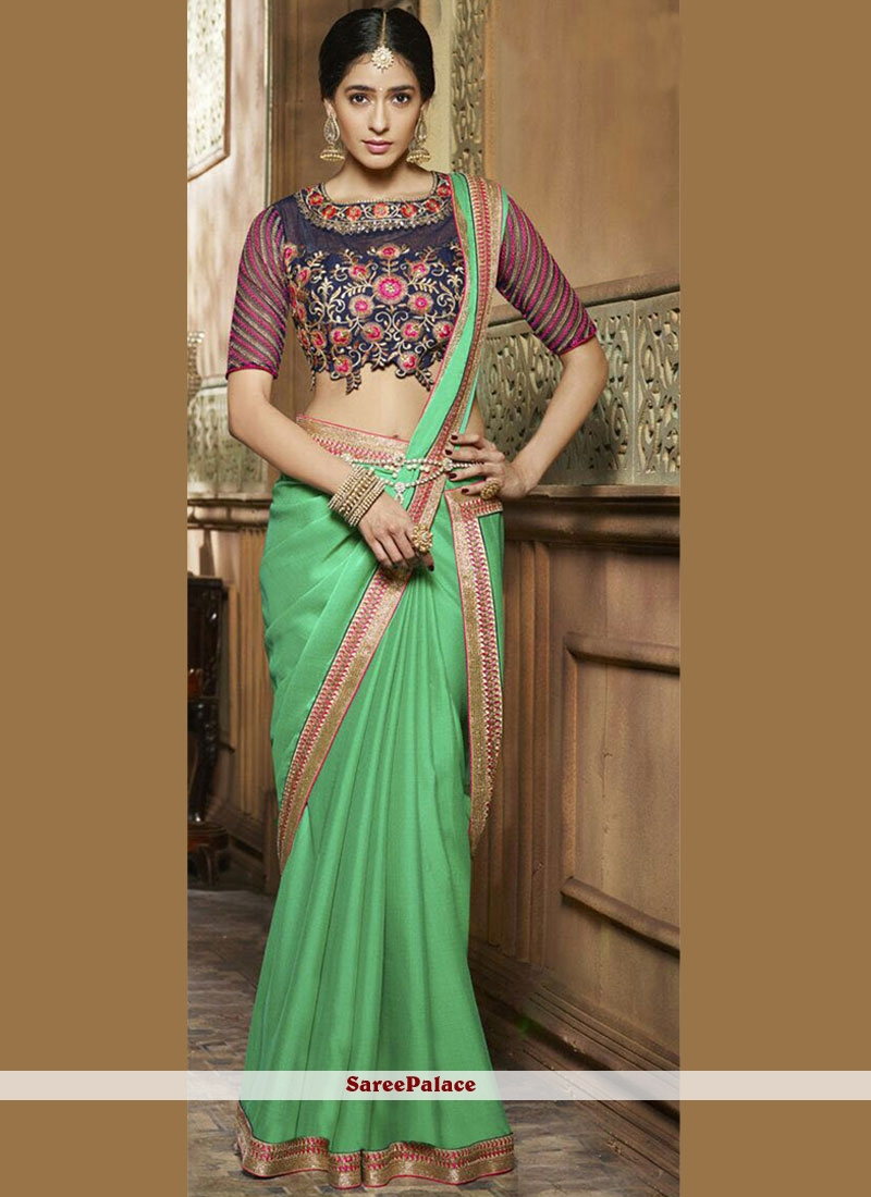 Appealing Sea Green Patch Border Work Chiffon Satin Designer Saree