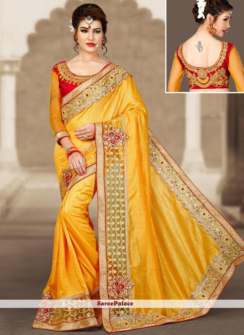 Yellow Resham Work Designer Traditional Saree