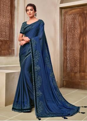 Blue Applique Ceremonial Classic Saree