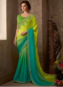 Aqua Blue and Green Faux Chiffon Party Classic Saree