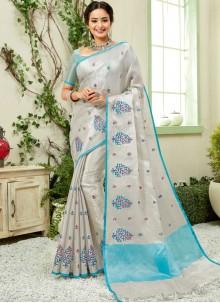 Aqua Blue and Grey Linen Trendy Saree