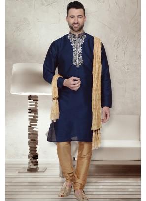 Blue and Navy Blue Art Dupion Silk Sangeet Kurta Pyjama