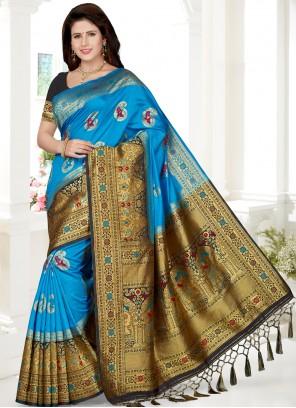 Aqua Blue Art Silk Trendy Saree