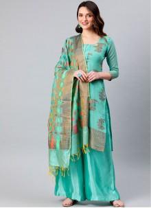 Aqua Blue Banarasi Silk Designer Palazzo Suit
