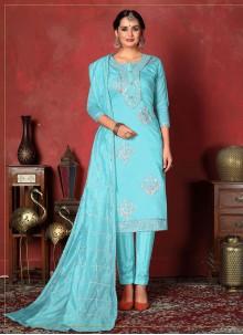 Aqua Blue Ceremonial Churidar Designer Suit