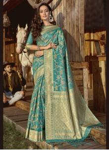 Aqua Blue Ceremonial Designer Traditional Saree