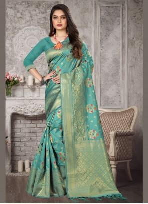 Aqua Blue Color Bollywood Saree