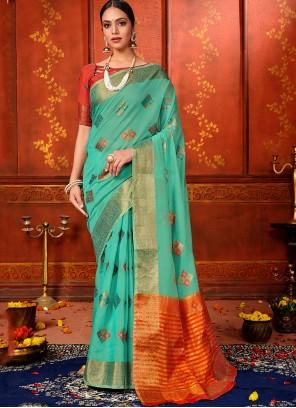 Aqua Blue Color Classic Designer Saree
