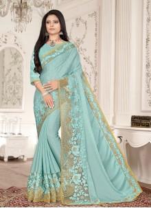 Aqua Blue Color Embroidered Designer Saree