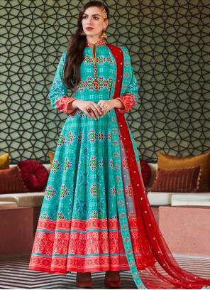 Aqua Blue Color Readymade Anarkali Suit
