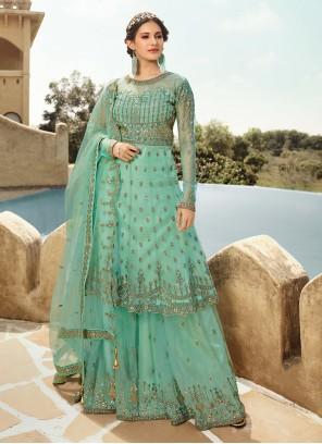 Aqua Blue Color Trendy Salwar Suit