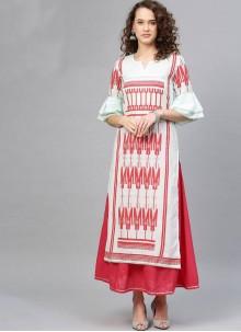 Aqua Blue Cotton Printed Salwar Suit