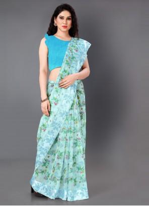 Aqua Blue Cotton Printed Saree