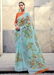 Aqua Blue Cotton Silk Saree