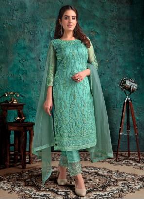 Aqua Blue Designer Pakistani Suit