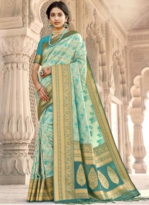 Aqua Blue Banarasi Silk Designer Saree