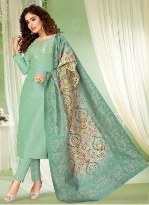 Aqua Blue Embroidered Bollywood Salwar Kameez