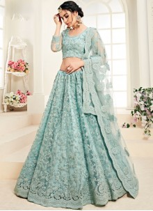 Aqua Blue Embroidered Designer A Line Lehenga Choli