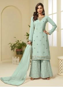 Aqua Blue Embroidered Designer Palazzo Salwar Suit