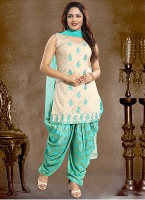 Aqua Blue Embroidered Jacquard Punjabi Suit