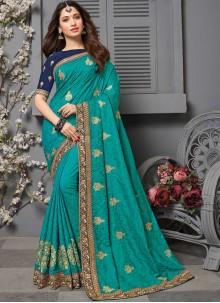 Aqua Blue Embroidered Silk Contemporary Saree