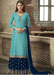 Aqua Blue Embroidered Trendy Palazzo Salwar Kameez