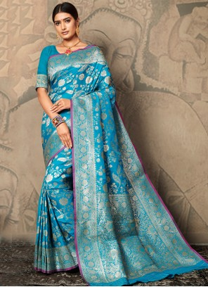 Aqua Blue Festival Contemporary Saree