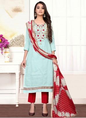 Aqua Blue Handwork Designer Straight Suit