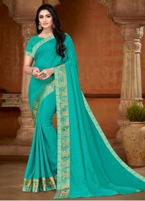 Aqua Blue Lace Silk Bollywood Saree