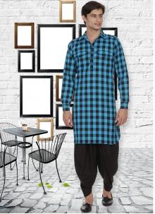 Aqua Blue Mehndi Kurta Pyjama