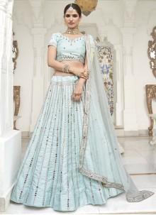 Aqua Blue Mirror Trendy Lehenga Choli