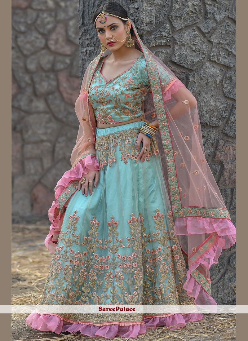 Aqua Blue Net Embroidered A Line Lehenga Choli