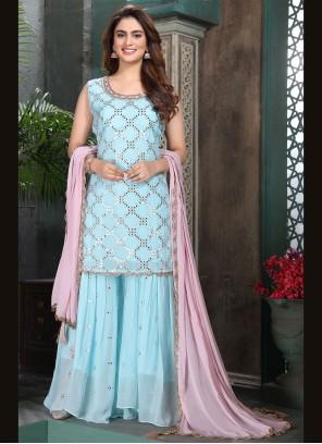 Aqua Blue Pakistani Salwar Suit