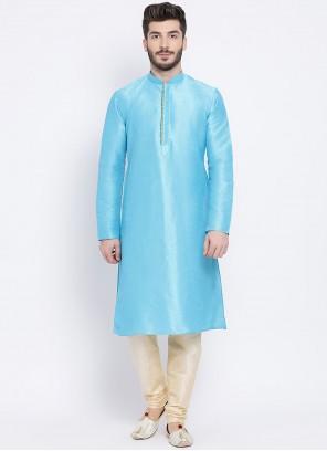 Aqua Blue Plain Dupion Silk Kurta Pyjama