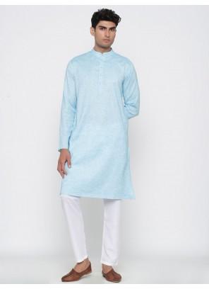 Aqua Blue Plain Party Kurta Pyjama
