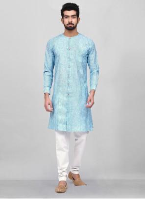 Aqua Blue Printed Cotton Kurta Pyjama