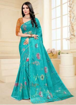 Fancy Fabric Aqua Blue Printed Saree
