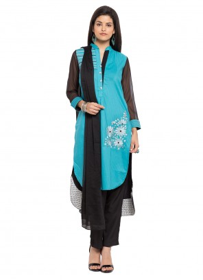 Aqua Blue Readymade Salwar Kameez