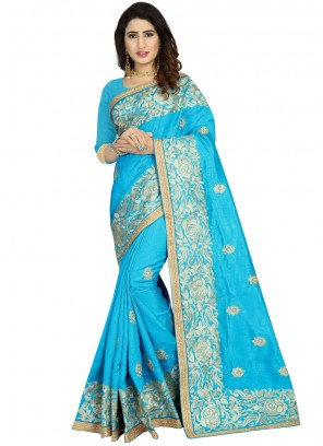 Aqua Blue Reception Classic Designer Saree
