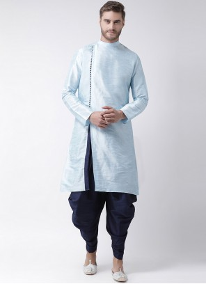 Aqua Blue Sangeet Art Dupion Silk Kurta Pyjama