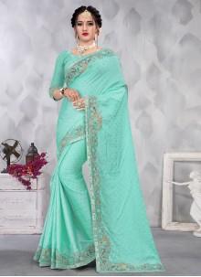 Aqua Blue Satin Embroidered Designer Saree
